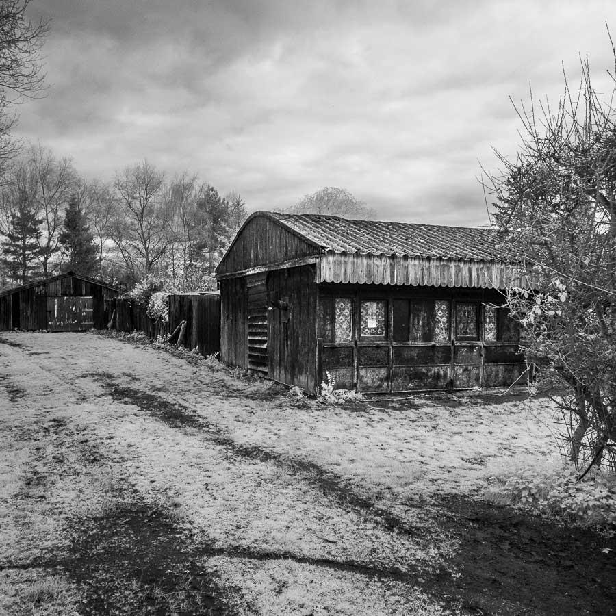 Black white infrared landscape photo taken in norfolk england