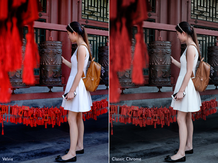 Comparison photos showing two different Fujifilm Film Simulatin settings, Velvia and Classic Chrome. Photo taken in Prince Gong's Mansion, Beijing, China.