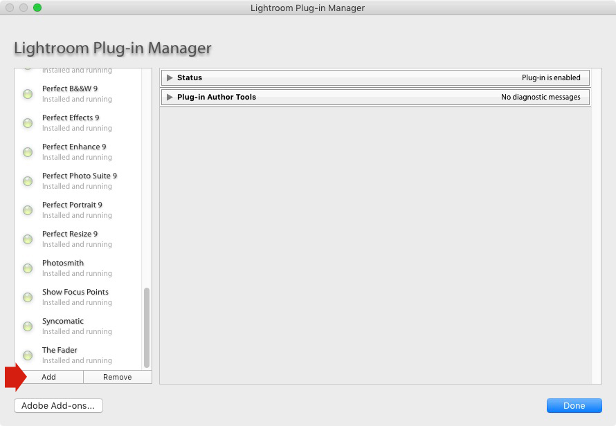 Lightroom plug-in manager