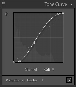 Lightroom Tone Curve panel