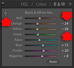 HSL/Color/B&W panel in Lightroom