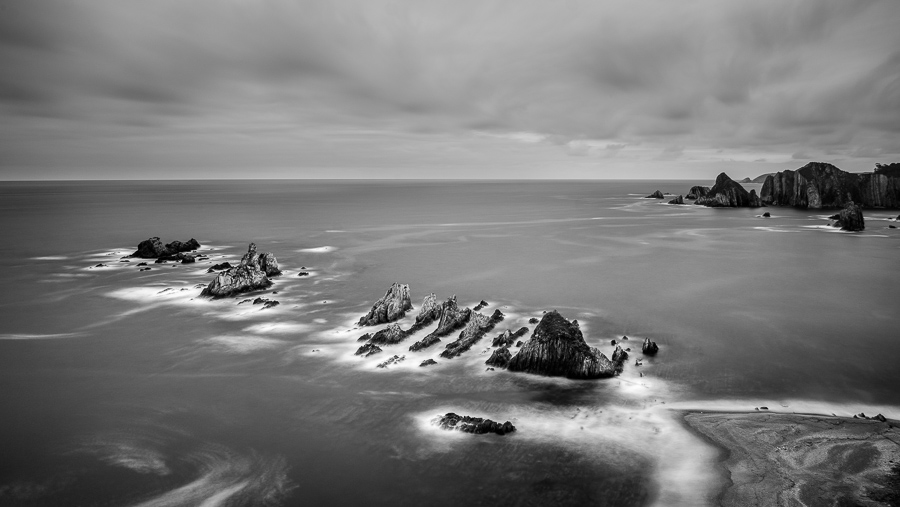 Black & white landscape photo taken in Asturias, Spain