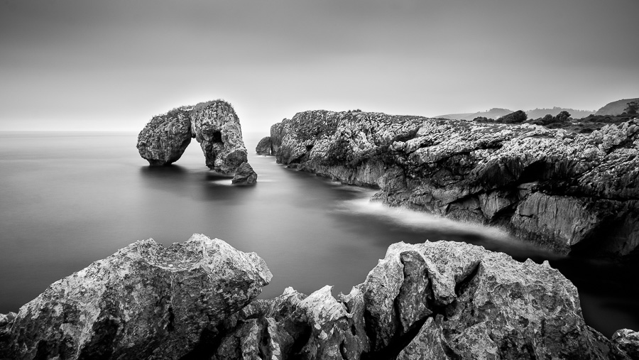 Long exposure black & white seascape taken in Asturias, Spain