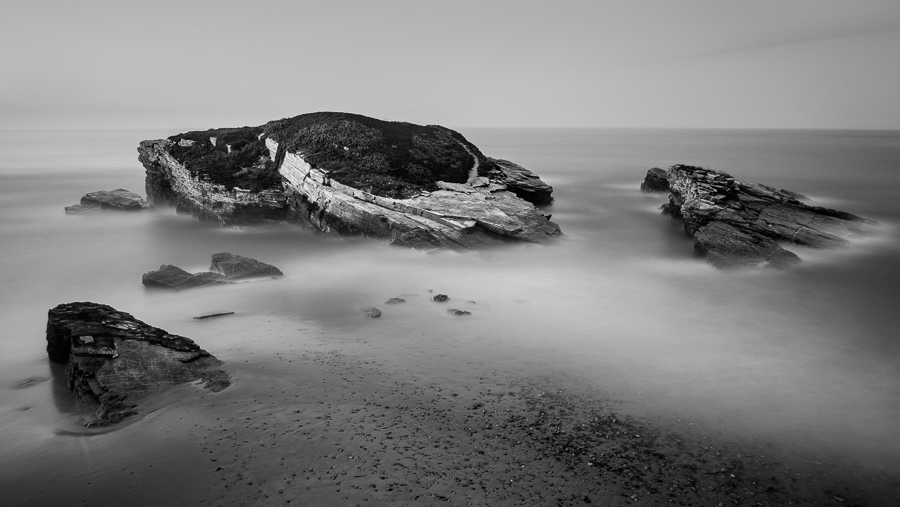 Long exposure black & white seascape taken in Galicia, Spain