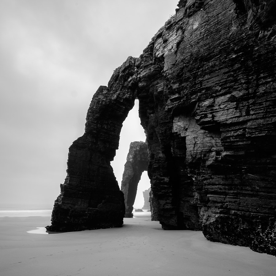 Black & white landscape photo taken at Playa de las Catedrales, Galicia, Spain.